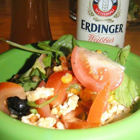Salad and beer Erdinger