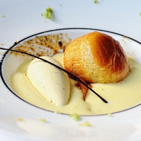 Lime sabayon with vanilla ice cream