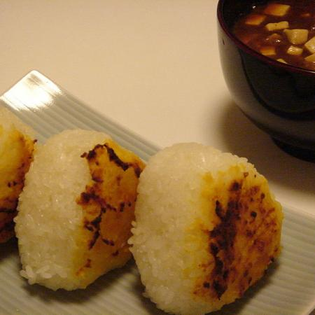 Miso musubi and miso soup