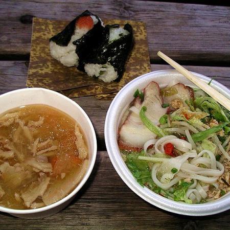 Pho with onigiri and tonjiru
