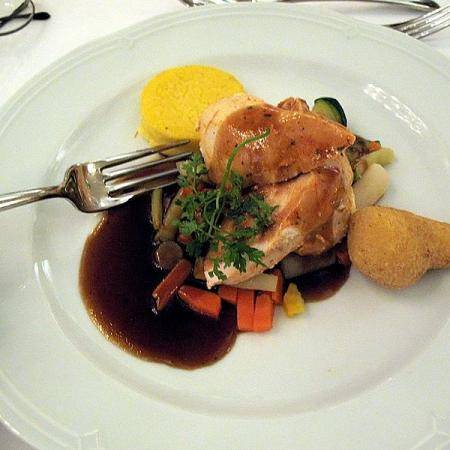 Roasted capon breast with polenta