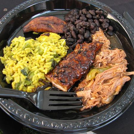 Shredded Beef, Jerk Chicken, Black Beans And Plantains