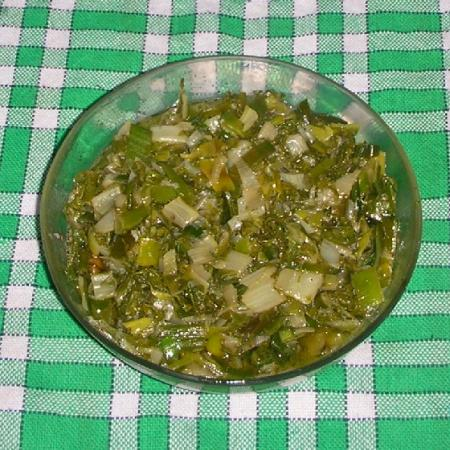 chard sauteed with garlic and leeks