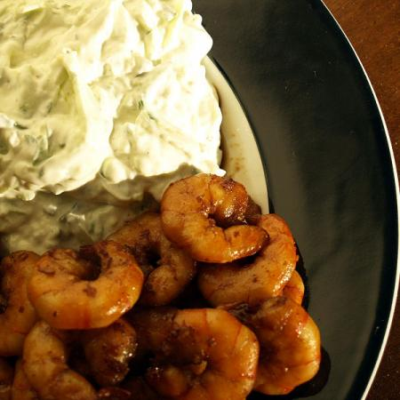 Tiger Prawns with a tzatziki