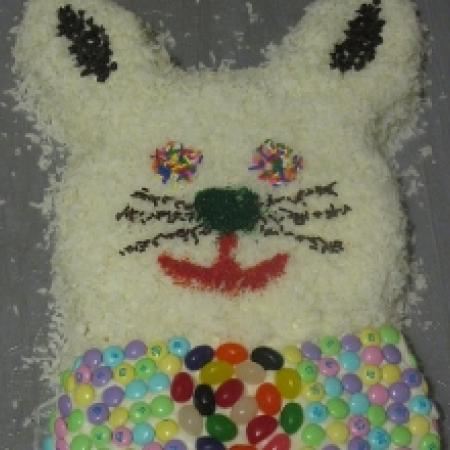 Easter Bunny Cake with Colorful Ms and Candies