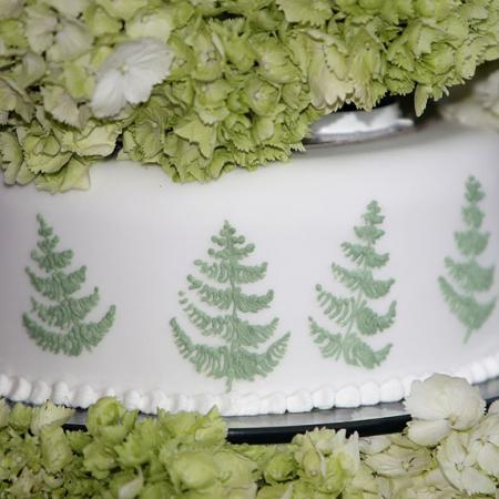 Wedding cake with ferns