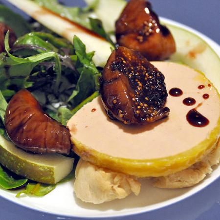 Foie gras with flute and salad