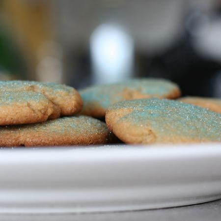Sugar cookies with blue-tinted sugar