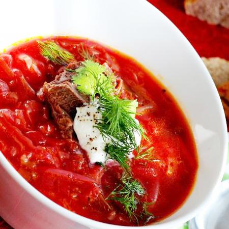 borscht with beef and sour cream