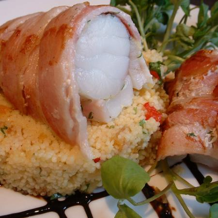 Monkfish Fillets With Bacon And Cous Cous