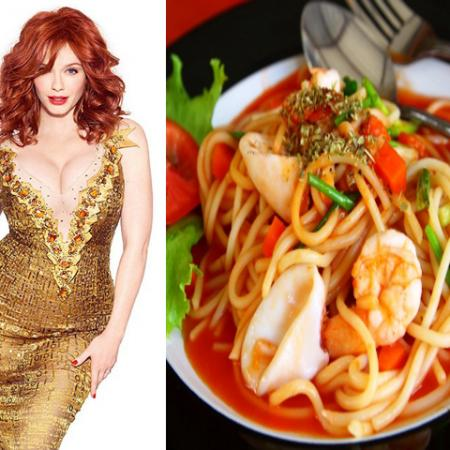 Christina Hendricks with Spaghetti