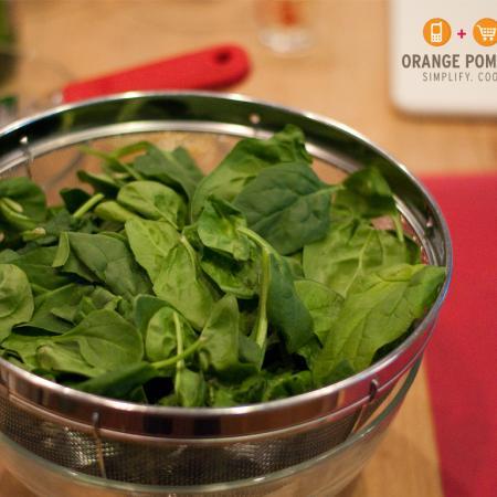 Baby Spinach for Pasta Carbonara Florentine by Orange Pomegranate