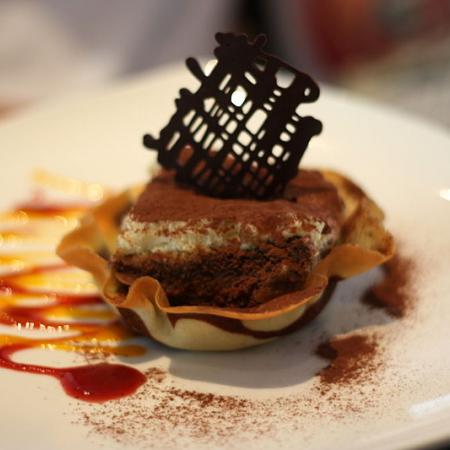 Tiramisu served in a pastry shell