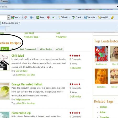 Cuisine Page Browsing By Recipe Names