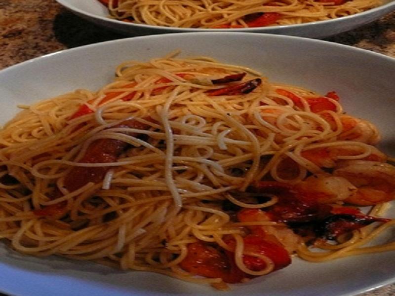 Thin Pasta with Shrimp, Red Peppers and Pine Nuts picture