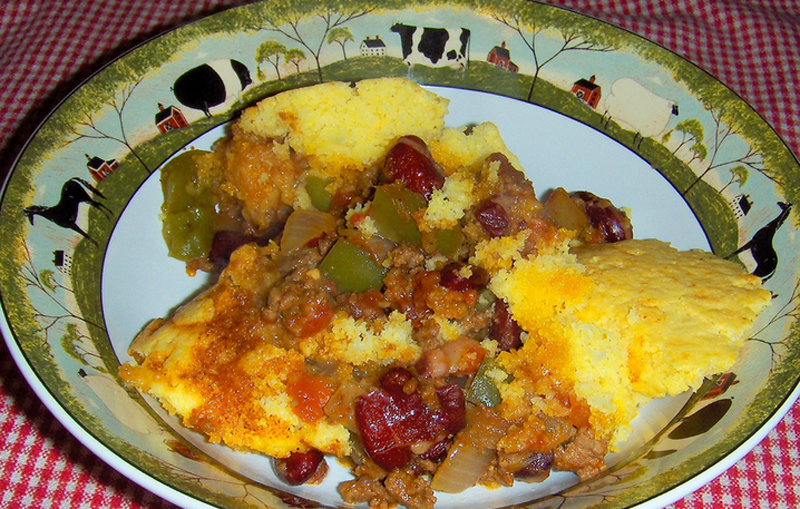 Three Bean And Corn Bread Casserole picture