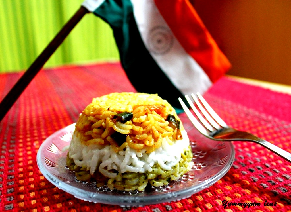 Indian Tricolour Rice - Coriander, Coconut and Tomato Layered Rice picture
