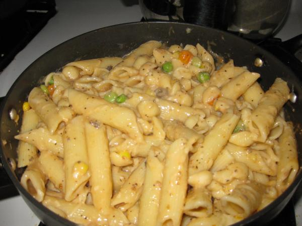 Pasta with Veggies in a Cream of Mushroom Sauce