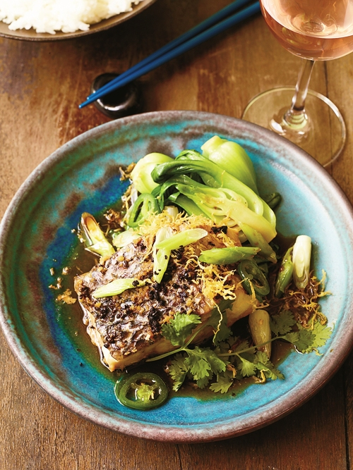 Steamed Wild Striped Bass With Ginger And Scallion picture