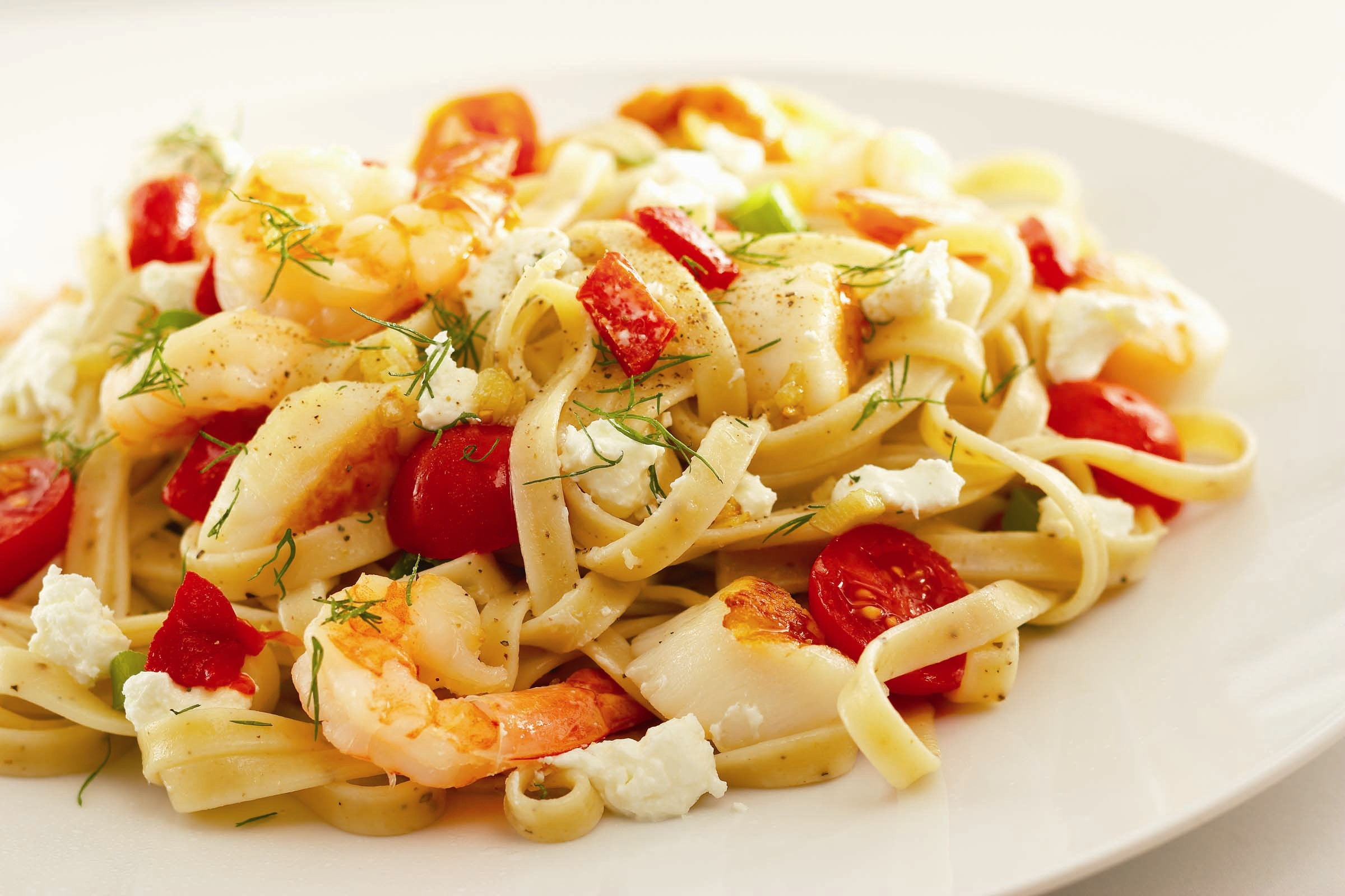 Seafood Pasta Primavera with Goat Cheese picture