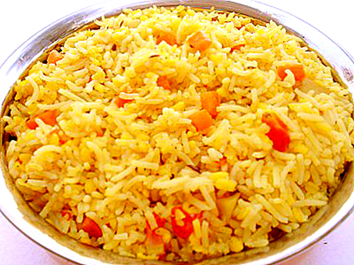 Yellow rice as a lunch item in African menu